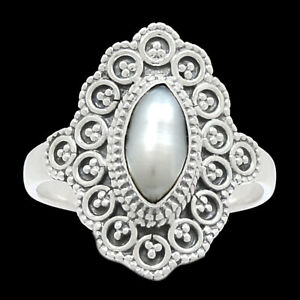 Filigree - Fresh Water Pearl 925 Sterling Silver Ring Jewelry s.9 BR91079