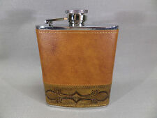 Flachmann Pelle marrone con inciso Ornamento / Tessuto tradizionale 725683