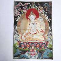 "36"" Tibet Tibetan Cloth Silk White Tara Guanyin Kwan-yin Tangka Thangka Mural #2"
