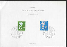 K10 - Germany 1958 Europa stamps FDC on paper