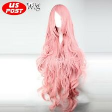 Vocaloid Megurine Luka 100CM Long Curly Pink Hair Fancy Women Anime Cosplay Wig