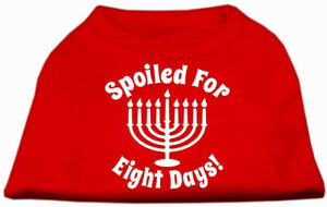Mirage Pet Products Spoiled for 8 Days Screen Print Dog Shirt, Small, Red