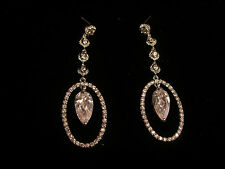 Large Oval with Pear Cut Crystal Center Ear Rings