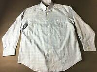 Orvis Mens Blue Plaid Front Pocket Button Front Shirt Size Large