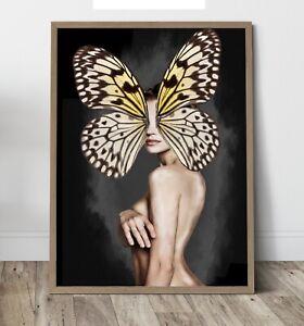 Digital art - Portrait butterfly Wall Art Print, Canvas A4,A3,A2,A1,A0, On trend