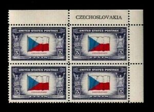 "United States Scott # 910 "" 5 Cent Inscribed Czechoslovakia "" Block (4) Mint NH"