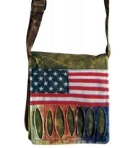 Patchwork USA AMERICAN FLAG MESSENGER BAG Purse Cross Body Small RISING INT'L