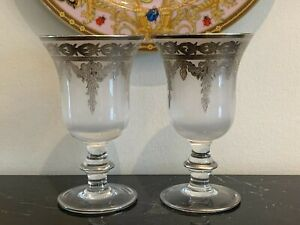 Arte Italica 2 Vetro Silver Frosted Crystal Water Goblet Glasses