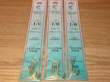 3 PKS - SIZE 1/0 SNELLED GOLD ABERDEEN HOOKS - 18 FISH HOOKS - DOLPHIN BRAND