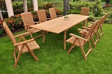 9 PC DINING TEAK RECLINING CHAIRS PATIO FURNITURE MARLEY DINING DECK COLLECTION
