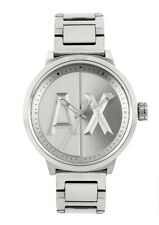 new men's ARMANI EXCHANGE AX1364 Silver Tone Stainless Steel Logo A/X WATCH