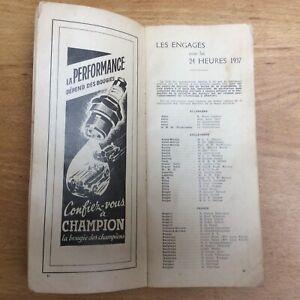 Programme Officiel Les 24 Heures Du Mans 1937, A.C.O, race car