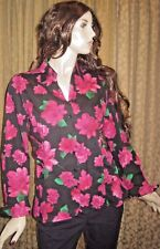 Ann Taylor Size 12 Black and Pink Floral Print Long Sleeve Scrunch Sides Blouse