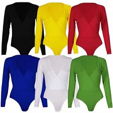 New Womens Plus Size Plunge Neck Wrap Over Long sleeve Bodysuit Leotard Tops8-26
