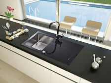 respekta Glasspüle Spüle Einbauspüle Glas New York 86x50 schwarz inkl. Excenter