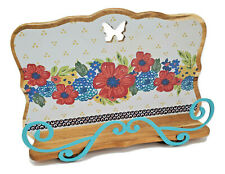 The Pioneer Woman Dazzling Dahlias Floral Wood Cookbook Tablet Holder Easel Stan