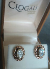 EARLY Clogau Welsh 9ct Yellow & Rose Gold Celtic Crystal Earrings h/m 1992
