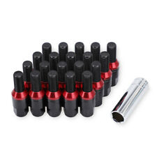 20PC M14x1.5 Extended Lug Bolts Black Steel Bolts Close End Cone Seat w/ Key