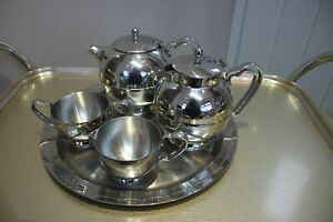 Job Lot of Old Hall Stainless Steel Coffee & Tea Pot, Tray, Sugar & Milk Jug