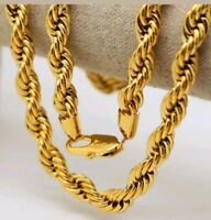 Italian made 4mm 24inch 14k Gold plated rope chain With Gift box Brand new