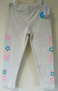 BNWT Carter's Gray With Floral Sides Capri Leggings Girl's Size 4T