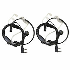 2-Pack Acoustic Tube Earpiece PTT Throat Mic Headset for Baofeng BF-888 BF-999