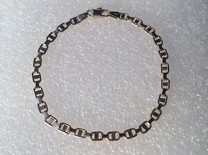 """modern Italian 9ct gold bracelet by Uno-A-Erre 7 1/8"""" long 4 mm wide"""