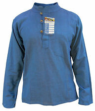 Plain Men's Cotton Full Sleeve Grandad Collarless Button Light Weight Shirt Tops