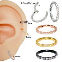 2x Cartilage Earring Septum Clicker Nose Ring Hoop Tragus Helix Rook Piercing