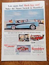 1956 AMC Rambler Nash Sedan Custom & Station Wagon Ad at The Beach