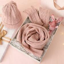 3PC Knitted Hat Scarf Glove Sets For Women's Winter Warm Wool Gift