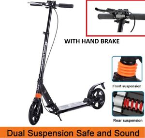2020 New Folding 200mm Big Wheels Suspension Black Adult Scooter Hand Brake