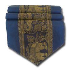 TS002 blau Tischläufer Tischdeko Tischdecke 200x30 cm Thai Silk Elefanten edel