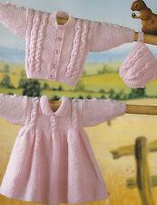 baby girls cardigan dress and bonnet dk knitting pattern 147
