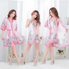 NEW Sexy Womens Silk Satin Pajamas Set Sleepwear&Robes Nightdress Nightgown P017
