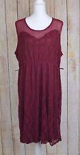 SWAK Sealed With A Kiss Loretta Lace Tank Dress Burgundy 2X 18W/20W Sleeveless