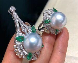 Aurora 15mm Australian south sea pearl set G18K  DIAMOND Emerald Japan order