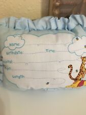Disney baby Winnie the Pooh blue birth Announcement door pillow w pen Nwot