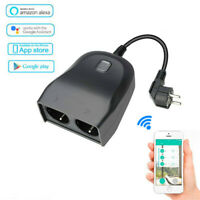 220V Outdoor Smart WiFi Plug Outlet with 2 Socket Waterproof with Alexa & Google