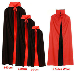 Halloween Black Red Vampire Cape Dracula Devil Cloak Kids Fancy Dress Costume UK