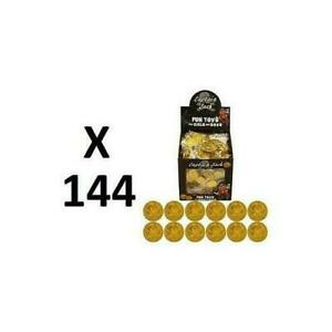 144 PLASTIC GOLD PIRATE TREASURE COINS LOOT GOODY PARTY BAG PINNATA FILLERS TOYS