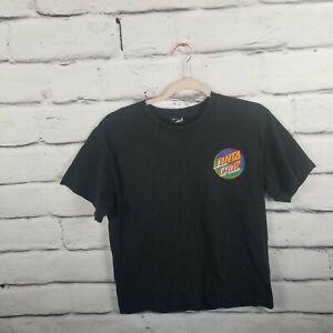 Santa Cruz Skate Boards Youth Boys XL Black Logo Graphic Tee Skate Tshirt Faded