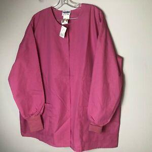 Landau Women's Warm-up Scrub Jacket Snap Front Style 7525 Size 2XL Pink PDP