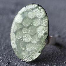 Neu RING mit CAPIZ MUSCHEL Farbe mint/grün/silber GRÖßENVERSTELLBAR Fingerring