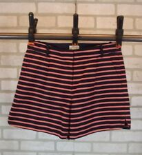 NEW J CREW Shorts Womens Size 2 Coral Navy Striped Flat Front 100% Cotton NWOT