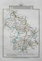 CAMBRIDGESHIRE 1828 Miniature Antique Map by Cary Hand Coloured