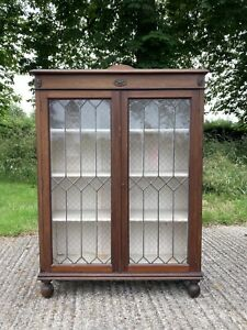 Antique Early C20th Wooden Astral Glazed Display Cabinet For Restoration