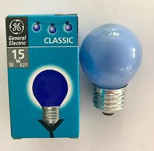 GE 15w Es/e27 Blue Golfball Round Bulb - Pack of 2