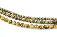 "Natural Round smooth Tiger Eye Jewelry Making loose gemston beads strand 15"" AAA"