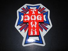 "DOGTOWN dog town Skate Sticker RedBlue Cross 4.25X3.5"" skateboards helmets decal"